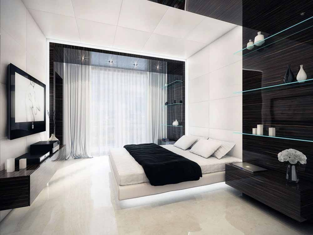 Glossy-Black-Accent-Wall-with-White-Sheer-Curtain-for-Modern-Bedroom-Interior-Design